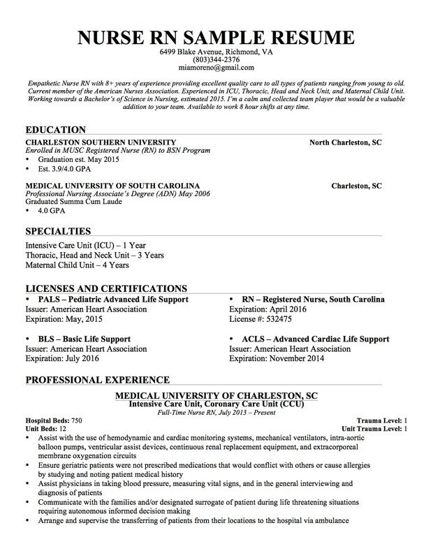 pediatric rn resumes
