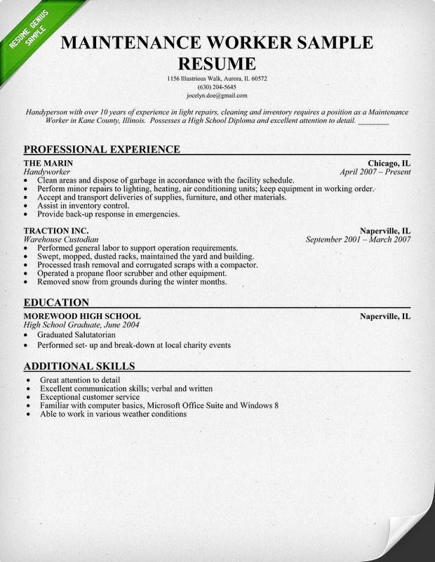 Sample Janitor Resume Maintenance Cover Sample Cleaning Resume Custodian Resume  Sample Cover Letter Template For Custodian