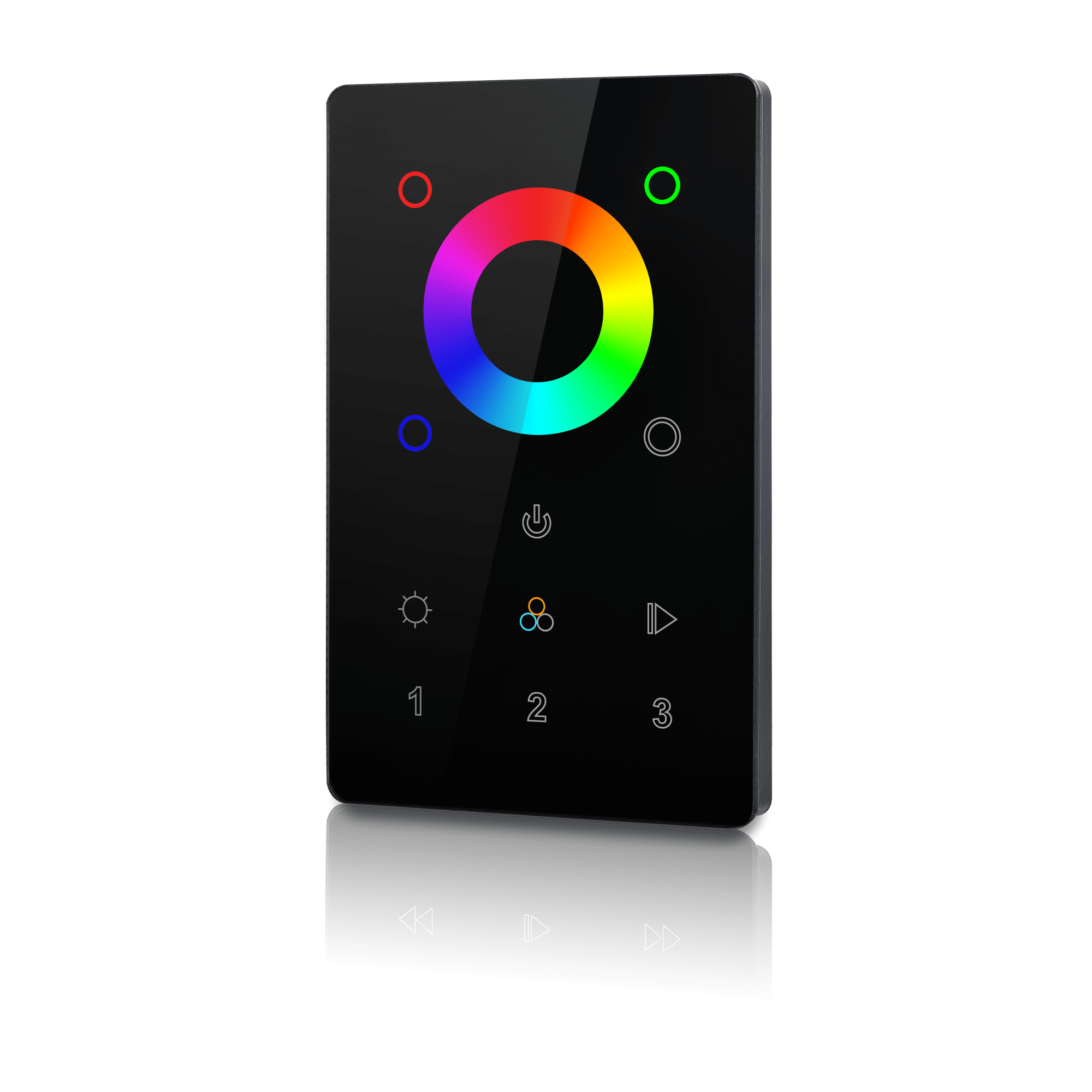 Rgb Dimmer 3 Zone Color Touch Panel And Dimmer Black Z Wave