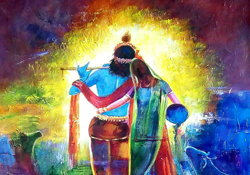 Lord Krishna With Gopis 3d Wallpaper Radha Krishna Love Story Which Describes The Nature Of
