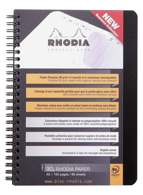 Rhodia Address Book The classic address book for home and office