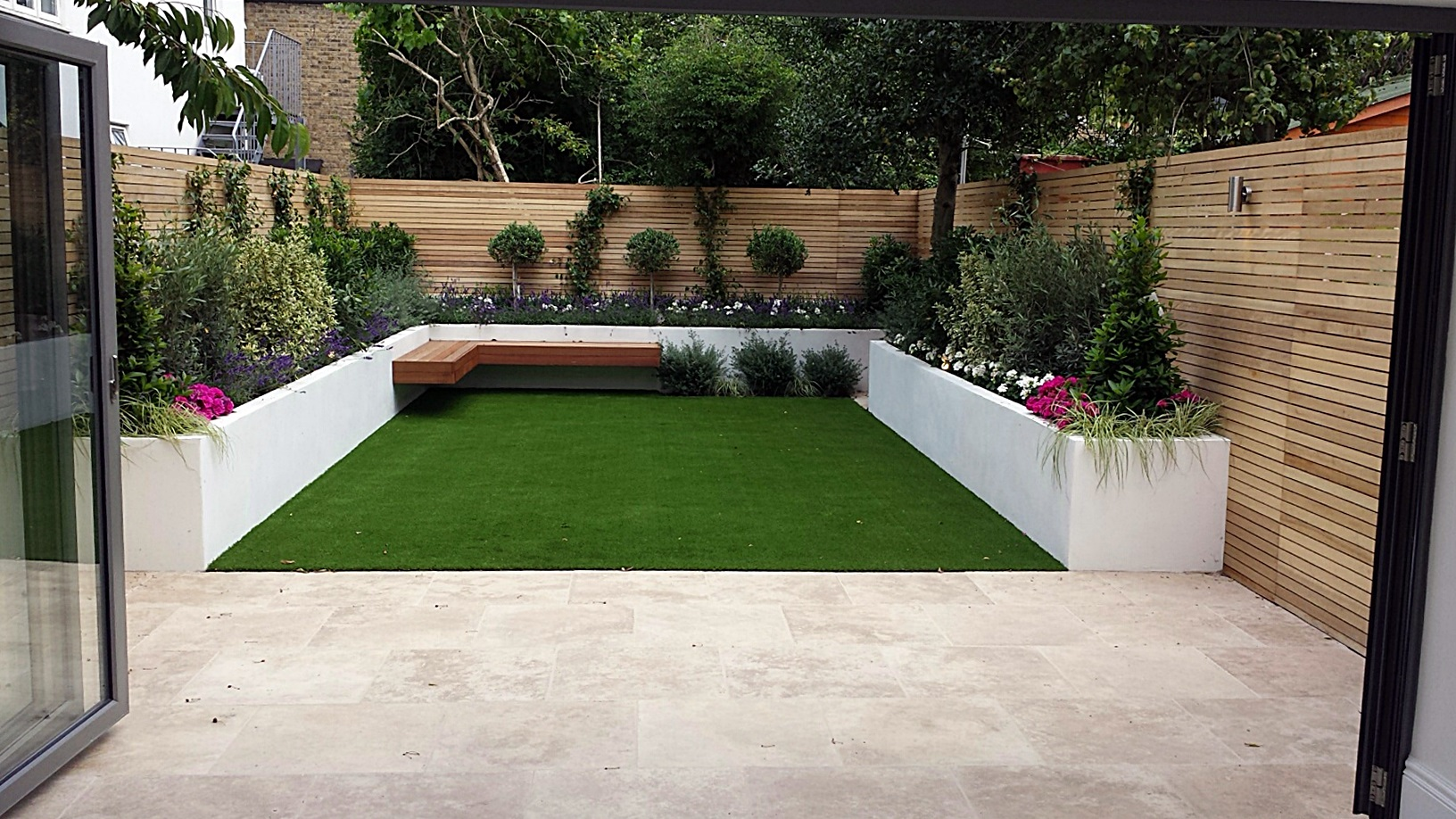 Gartengestaltung Ideen Japanisch Travertine Paving Patio Render Block Raised Beds Hardwood