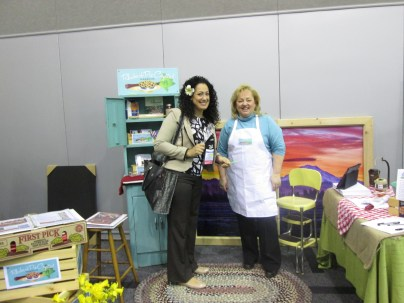 Leila Storm Velez, the trade sales coordinator for Madame Tussauds Hollywood enjoyed the booth with Shelly Schlumpf of the Puyallup/Sumner Chamber of Commerce.