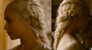 a close-up shot of Danerys's hair when she's feeding her dragons in Qarth