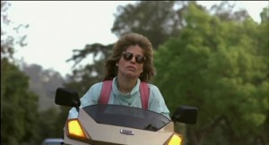 Sarah Connor rides to work, oblivious of her fate.