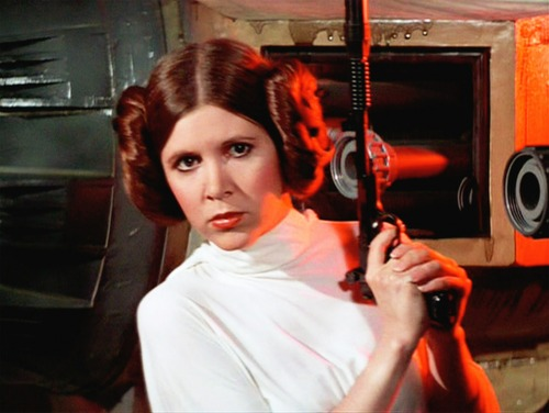 Princess Leia with a blaster