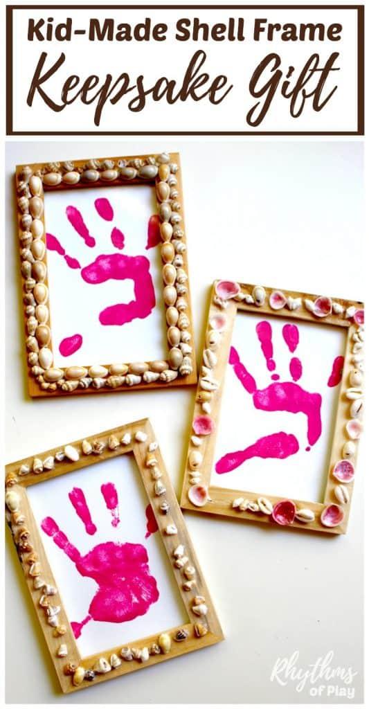 Shell Frames with Handprint Keepsake Gift Rhythms of Play