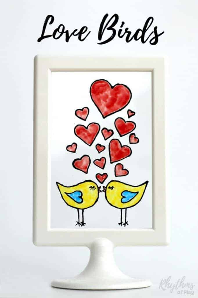 DIY Hand Painted Stained Glass Love Birds with Free Printable