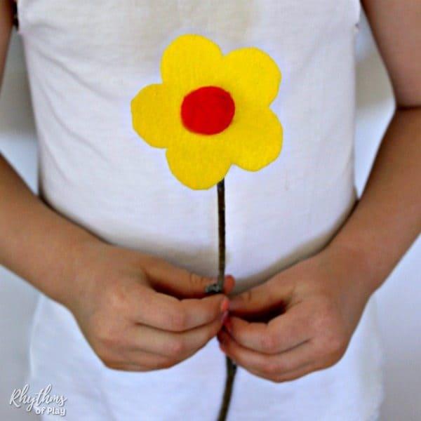 Easy Felt Flowers with Twig Stems No Sew Rhythms of Play