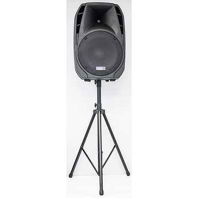 Rental speaker on tripod stand