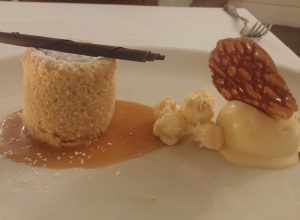 White Chocolate Fondant, Popcorn Ice-cream