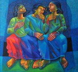 Presas em Pensamentos, Adélio Sarro, 2001, Oil on Canvas, 130 X 130 cm