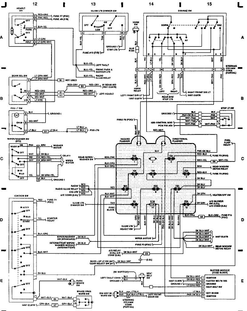 jeep yj wiring diagram fuse