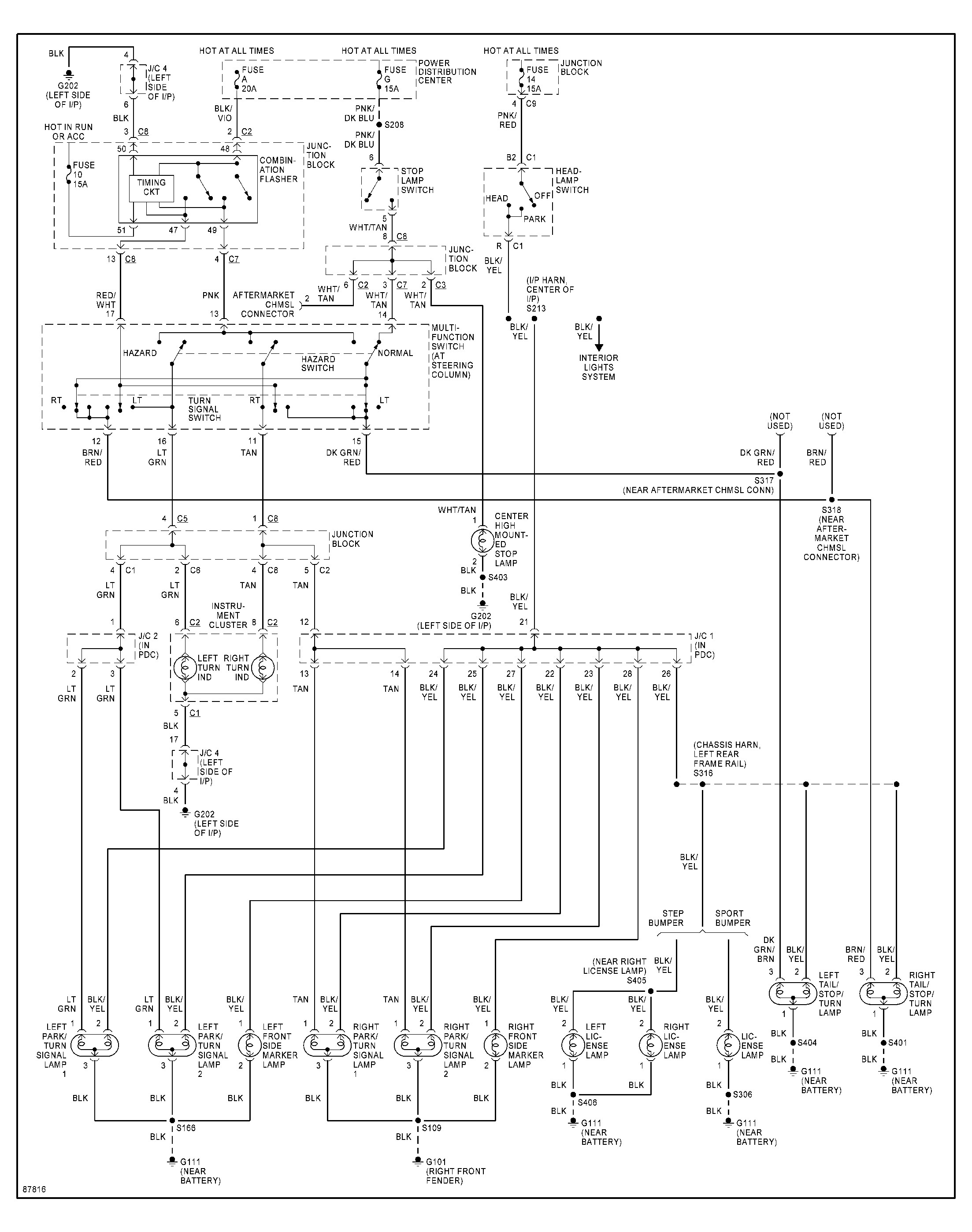 1998 dodge dakota headlight switch diagram