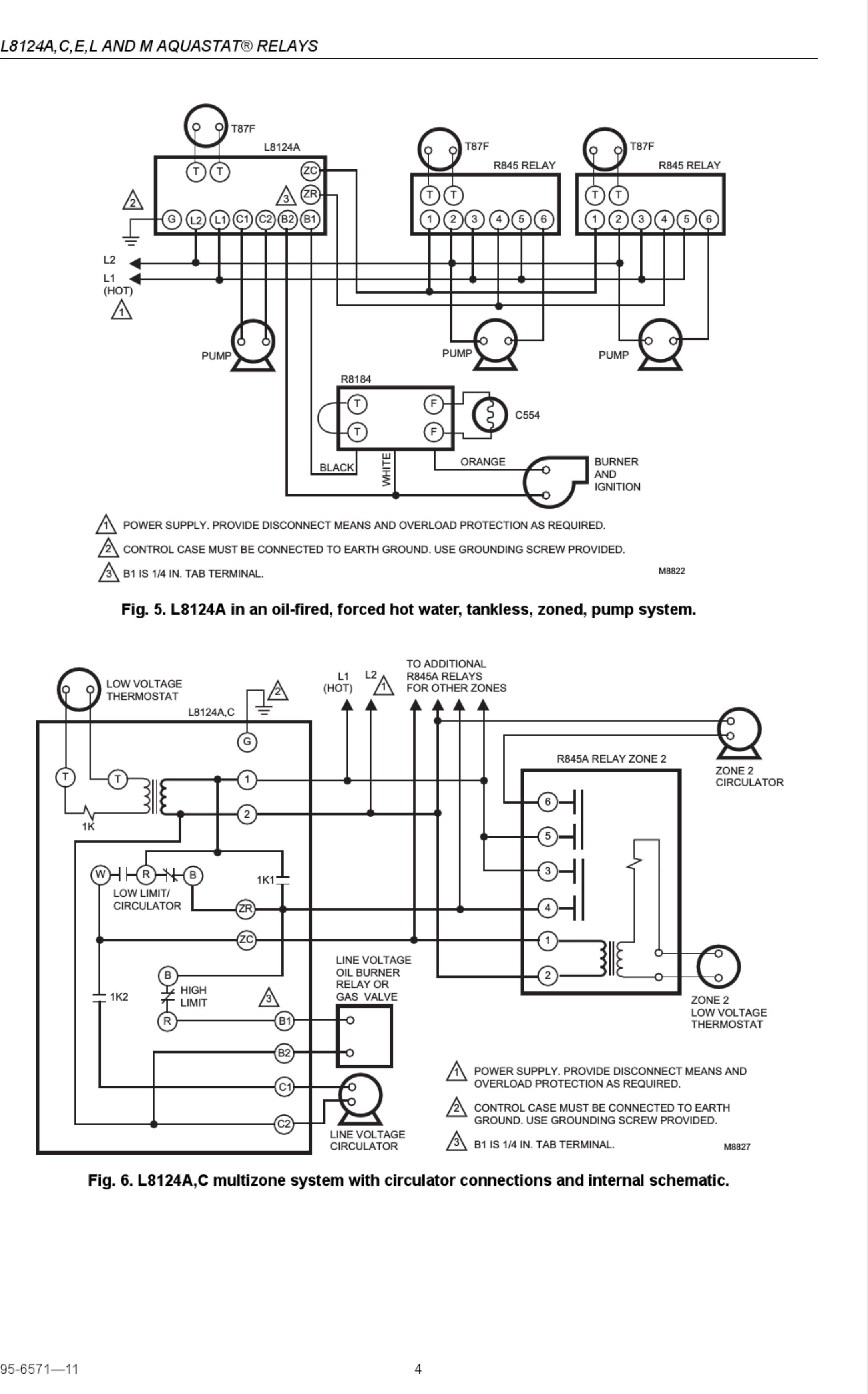 honeywell aquastat l4006a wiring diagram