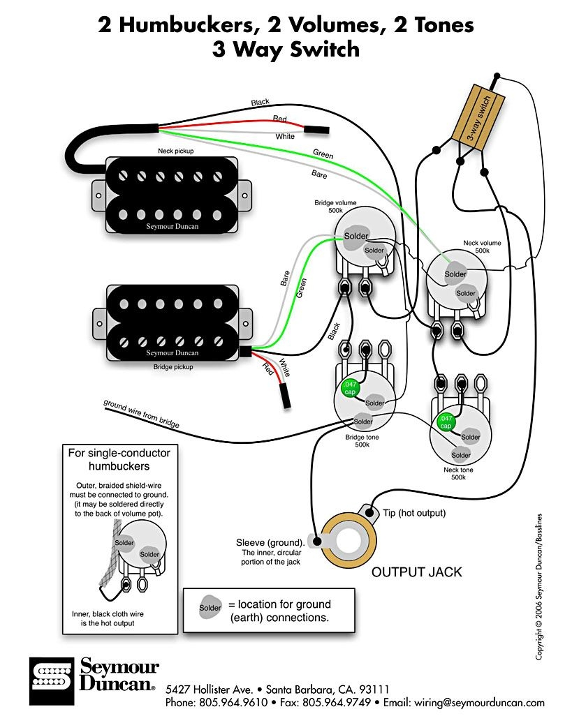 les paul wiring schematic humbuckers