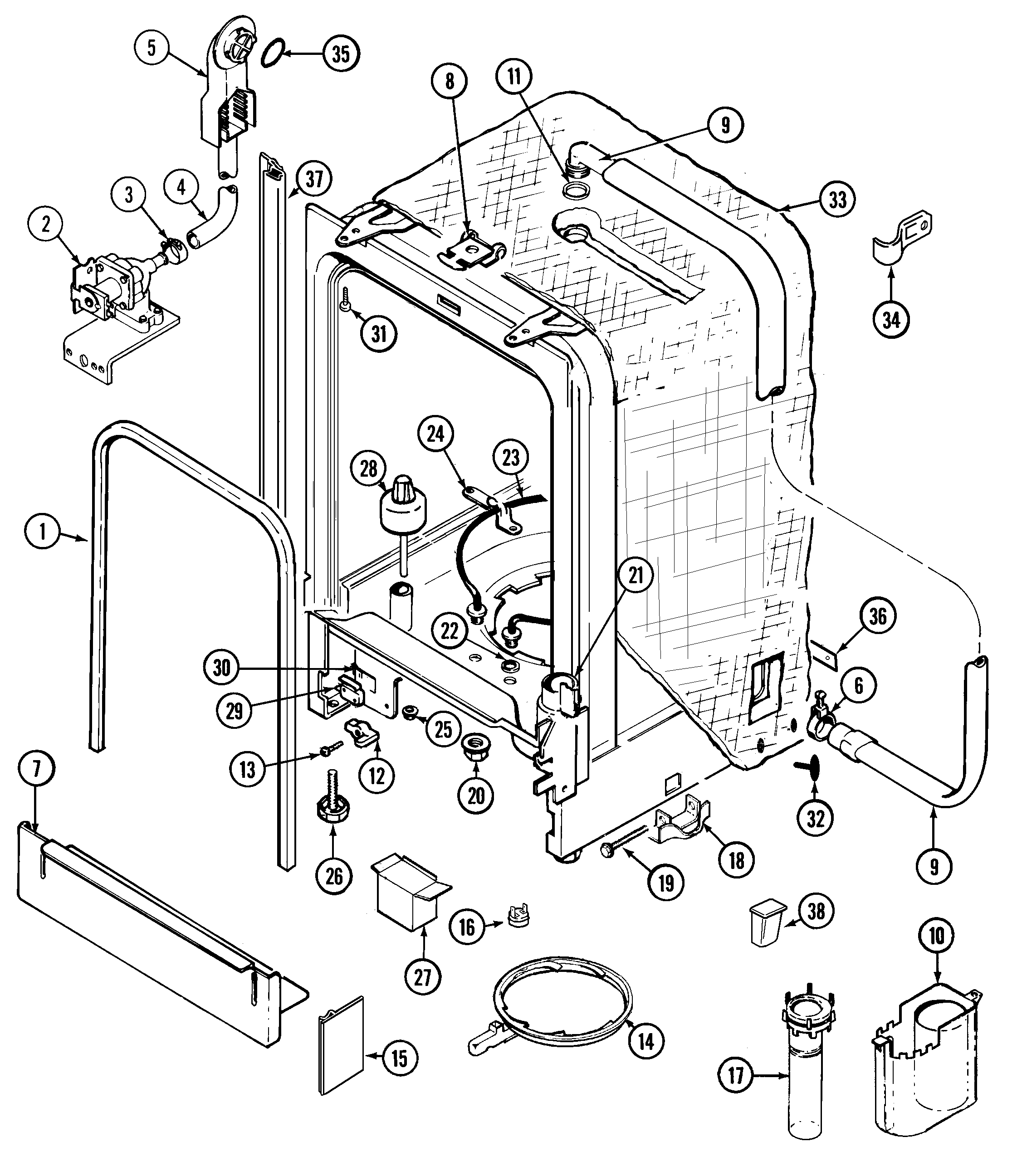whirlpool gold dishwasher parts diagram
