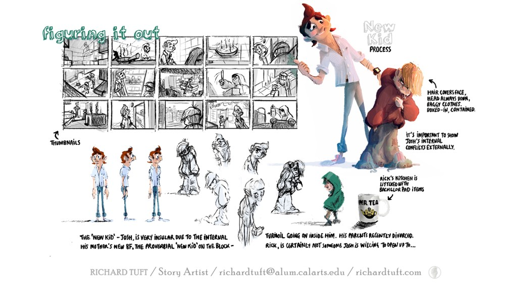 Explorations and thumbnails for New Kid story sequence. (c) Richard Tuft.