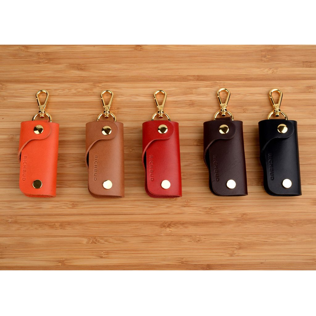 Leather Key Holder Cover Keychain Keyring Fobs Case