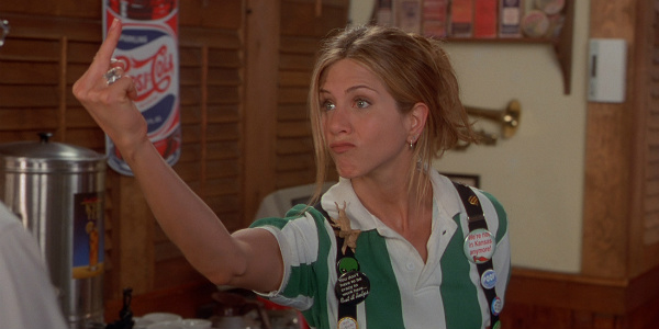 "aniston flips off her boss in ""office space"""