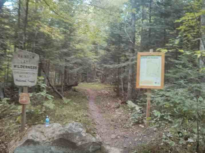 Trailhead of the North Country Trail at the southern boundary of the Rainbow Lake Wilderness in the Chequamegon-Nicolet National Forest.