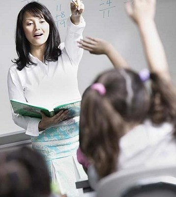 Female teacher teaching children