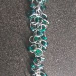 Teal and silver shaggy loops bracelet