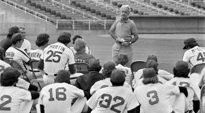 Marvin Miller Addresses the Players at Spring Training, 1977