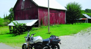 Bike on Route 60 parked by Amish Barn
