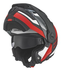 Schuberth E1 modular helmet with chin bar in raised position and sun shield lowered.