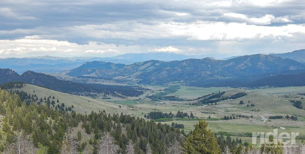 Looking east, U.S. Route 12 gives us MacDonald Pass views that are hard to beat. Rimini is shown in the foreground and Helena Valley on the horizon.