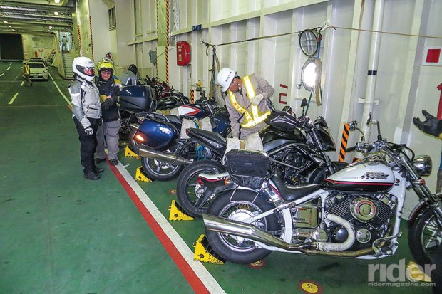 Bikes were first on, last off the ferry between the eastern and western tips of Kyushu and Shikoku.