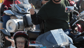 Star Cassie and her escort get ready to roll at Texas Motor Speedway. (Photo: Ride For Kids)