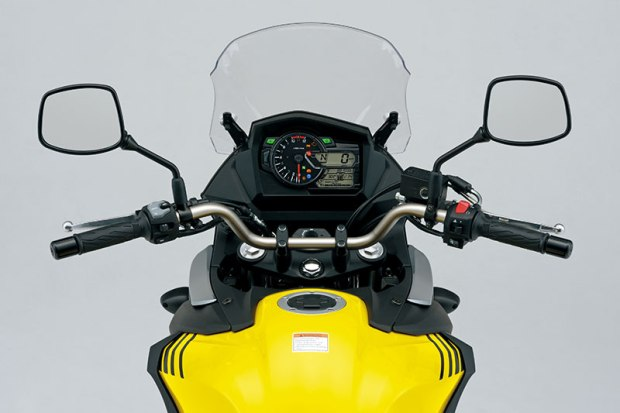 The 2017 Suzuki V-Strom 650 features a slimmer gas tank, a new instrument panel and a manually adjustable windscreen.