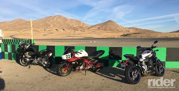 CLASS isn't a racing school—it focuses on applying racing techniques to street riding. Students bring all kinds of bikes to school, from sport tourers to cruisers to sport bikes, and even adventure bikes. The author's Yamaha FZ-07 is on the right.
