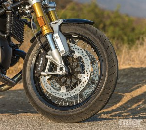 Stout USD fork and dual front disc brakes with opposed 4-piston brake calipers look good and work well.