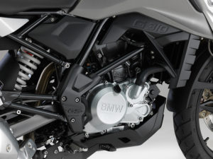 The 313cc single in the BMW G 310 GS makes a claimed 34 horsepower and 21 lb-ft of torque.