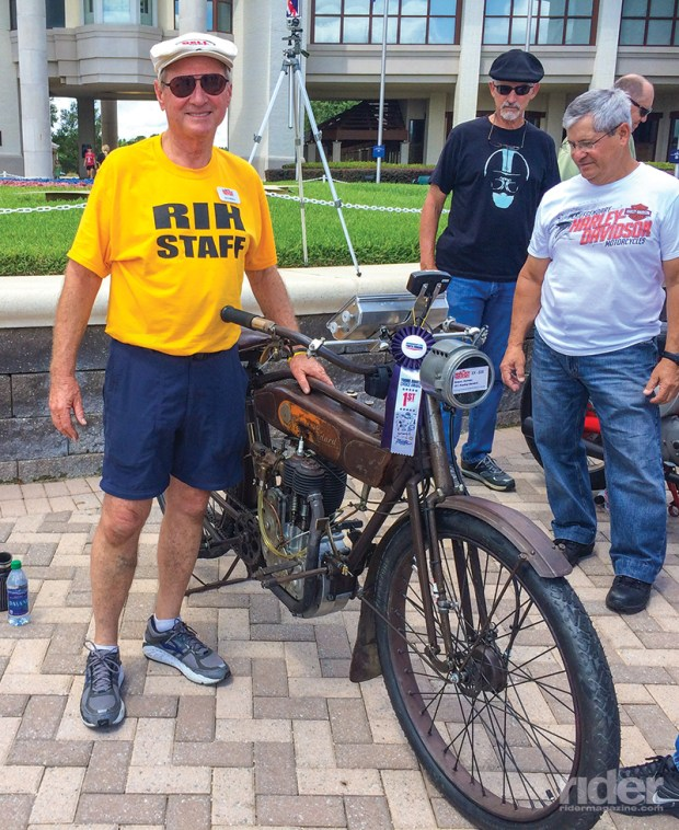 After winning an award for his 1911 Reading Standard, Norm Nelson entered it in the Motorcycle Cannonball cross-country run.