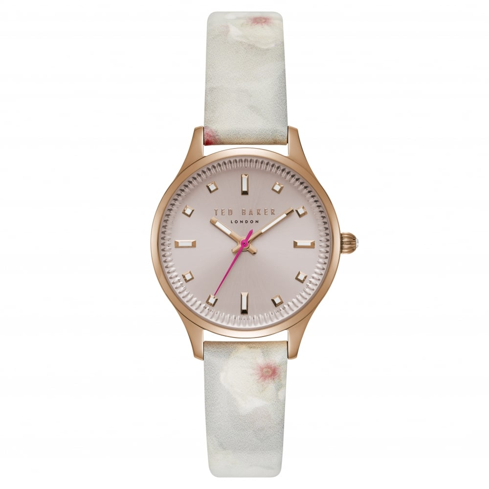 Leather Strap Rose Gold Watch Ted Baker Watches Ladies Rose Gold Tone Watch On Leather Strap Te50001002