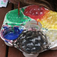 Outdoor Play: Bubble and Straw Painting.