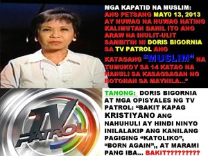 doris bigornia TV patrol muslims