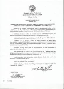 october 14 2013 class suspensions