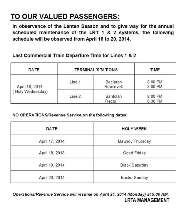 no lrt mrt operations from april 17 to 20 the
