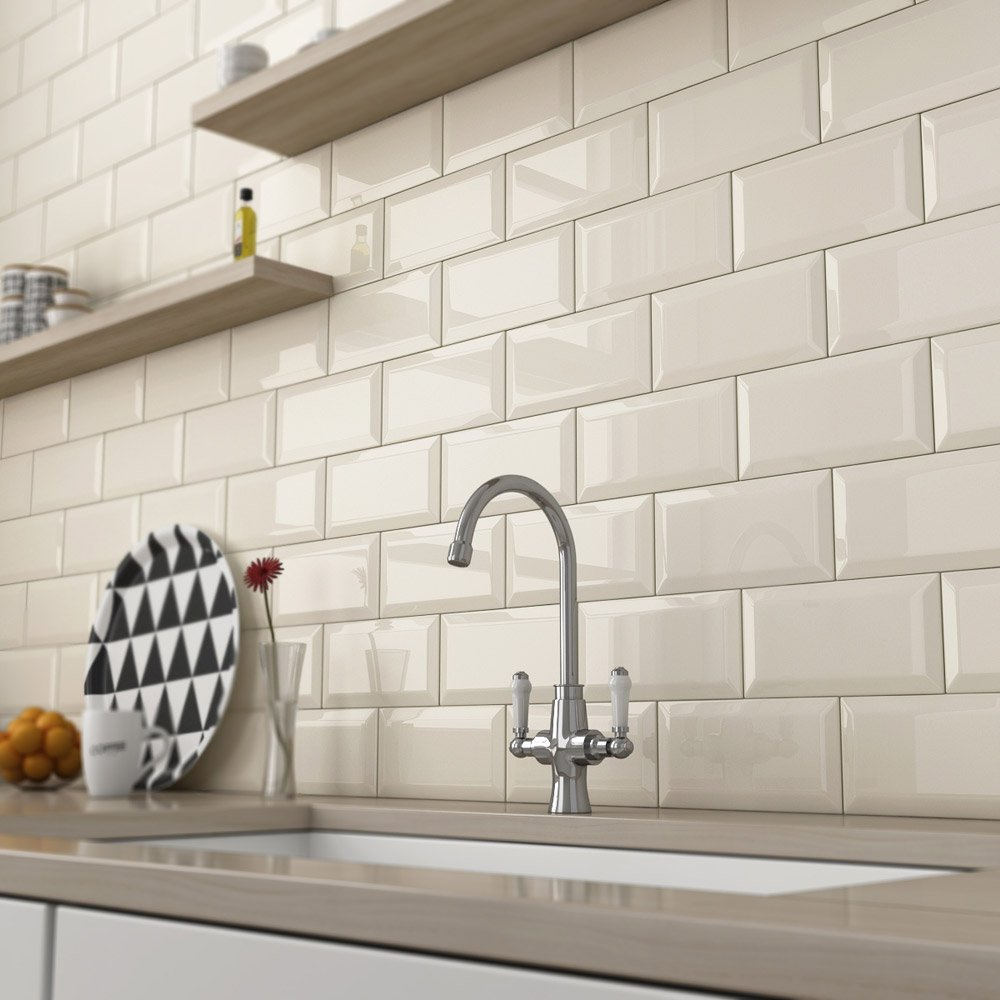 Metro Crema 10 X 20 Cream Beveled Ceramic Subway Kitchen Tiles Right Price Tiles