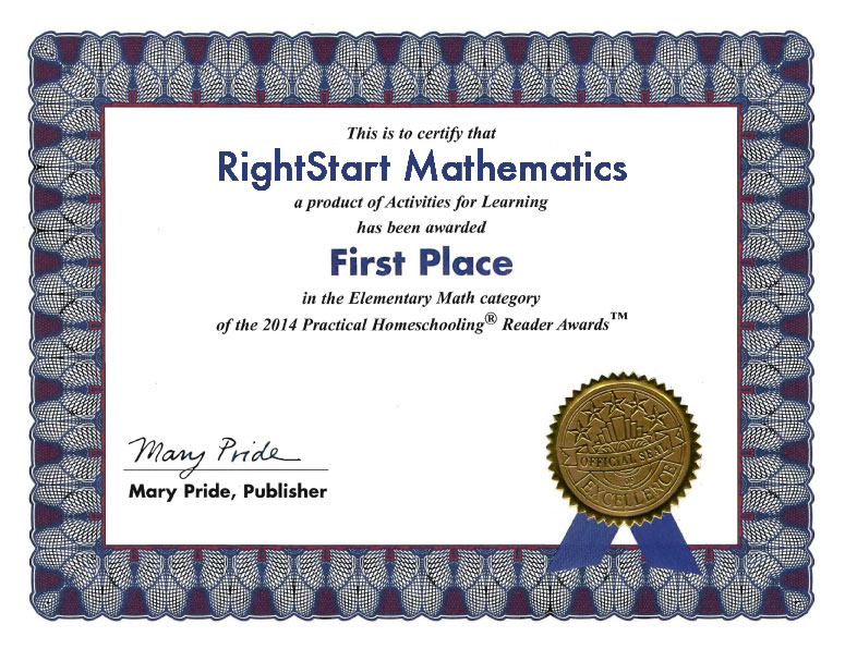 Awards  Reviews - RightStart™ Mathematics by Activities for