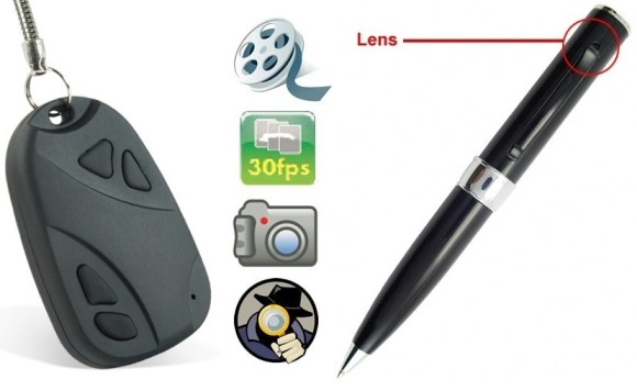 spy cam in pen and keyring