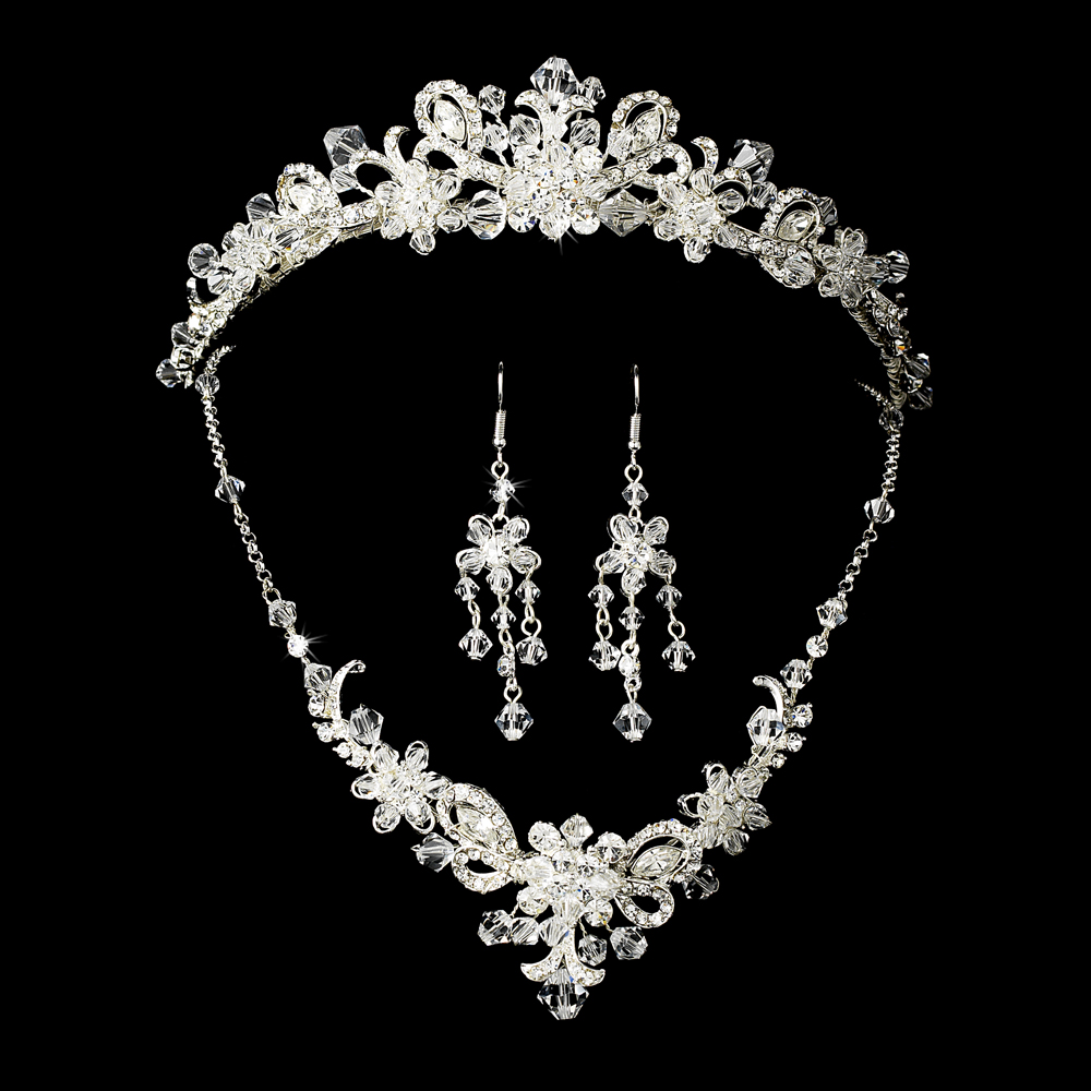 wedding jewelry sets FABULOUS FULL BRIDAL SILVER DIAMANTE JEWELRY SET INCLUDING TIARA NECKLACE AND EARRINGS WEDDING TIARA