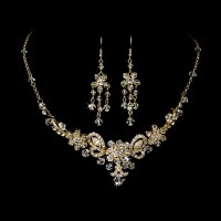 Gold Swarovski Crystal Bridal Jewelry Set and Tiara ...