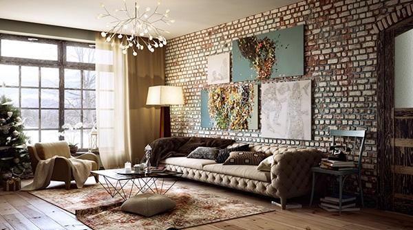 20 Exposed Brick Walls in Modern Living Rooms