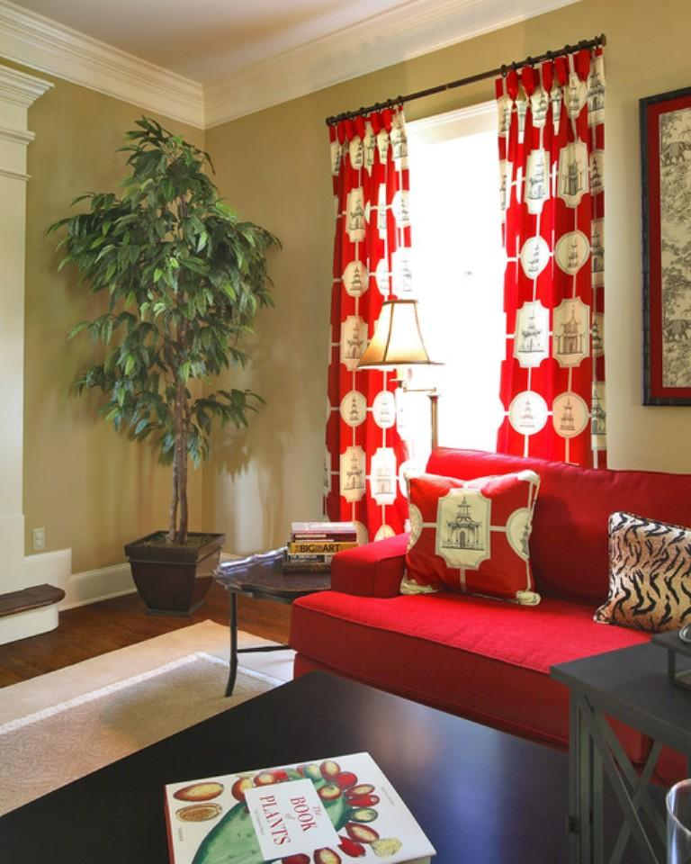 15 Lively and Colorful Curtain Ideas for the Living Room - Rilane - red curtains for living room
